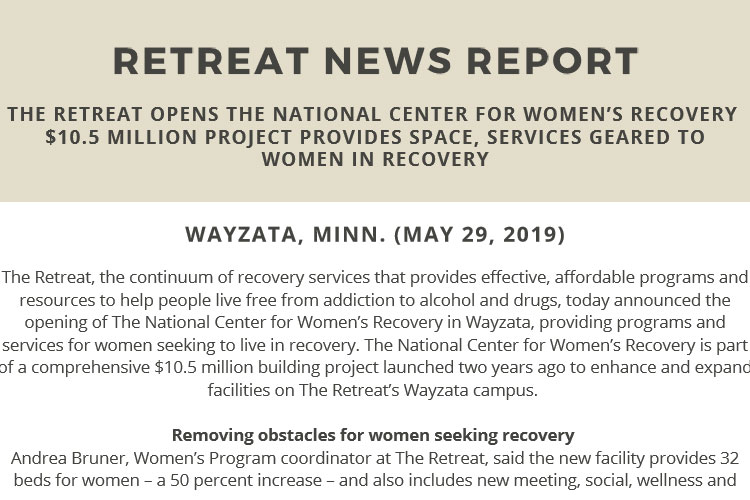 The Retreat opens The National Center for Women's Recovery